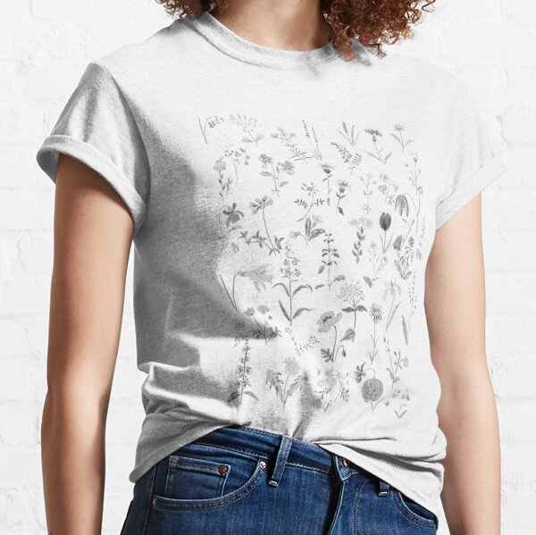 countryside wildflowers black and white Classic T-Shirt