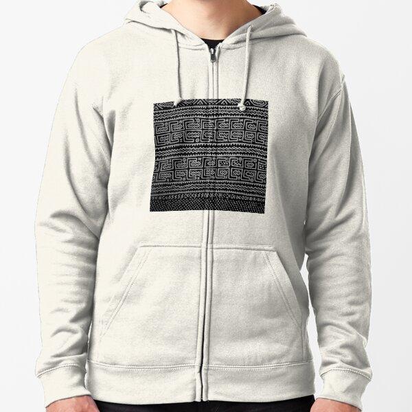 Black and white Mudcloth Zipped Hoodie