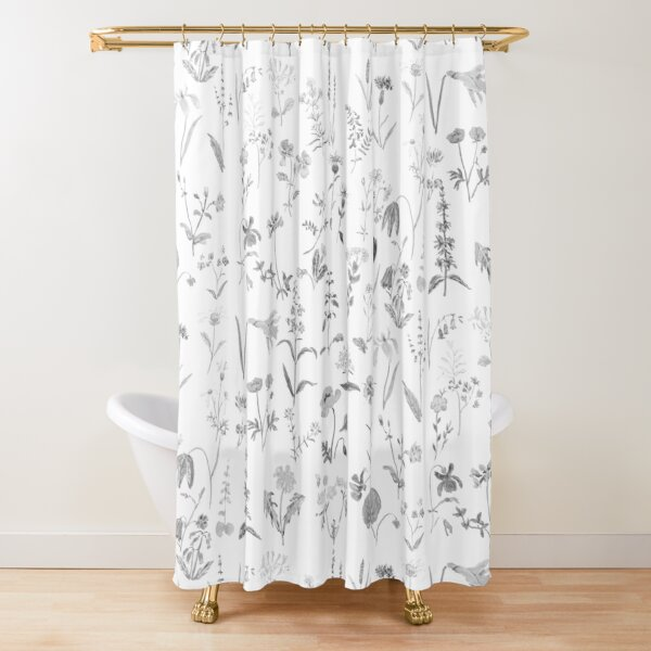 countryside wildflowers black and white Shower Curtain