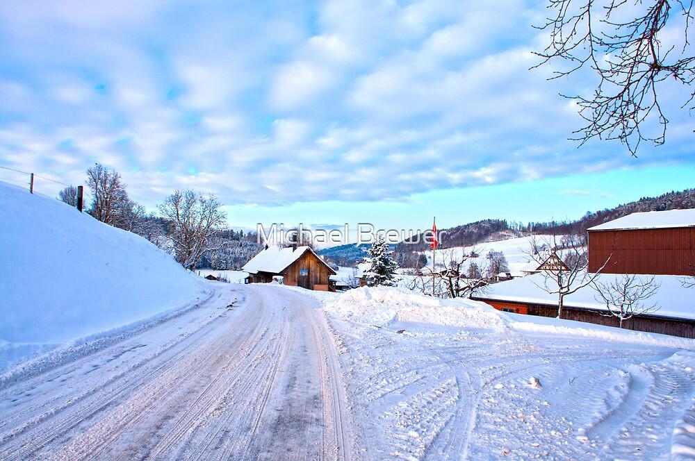 Snowy Swiss countryside near Lucerne, Switzerland. by Michael Brewer