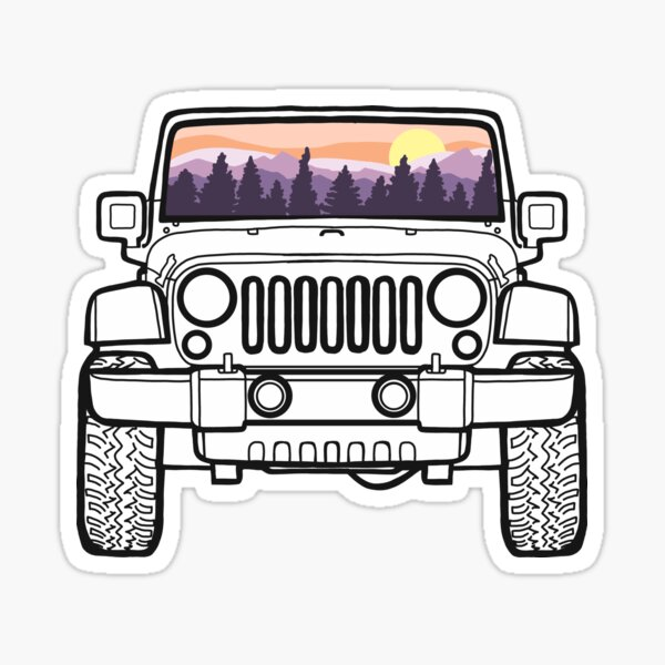 Up North Sunset Pines Purple Jeep Pegatina