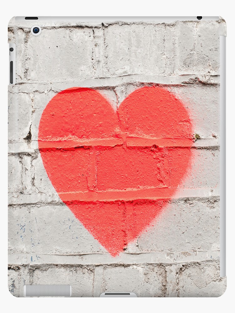 Red Heart on White Wall Graffiti by eyeshoot