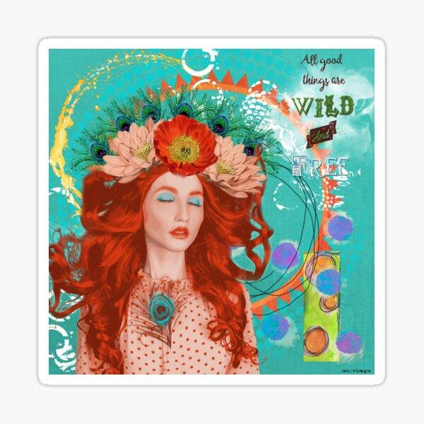 Wild and Free Digital Collage Sticker