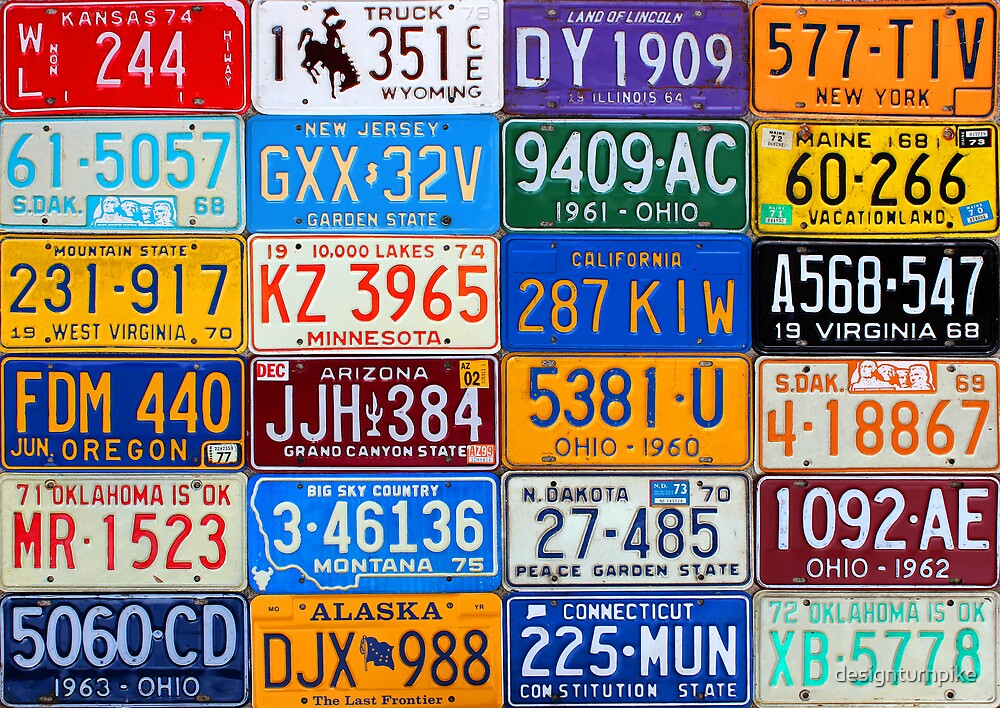 License Plates of the USA - Our Colorful American History by designturnpike