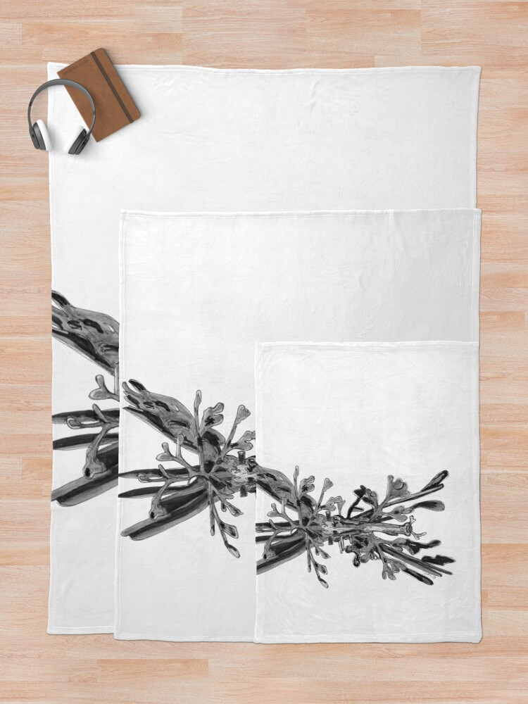 Alternate view of Belinda the Leafy Seadragon Throw Blanket