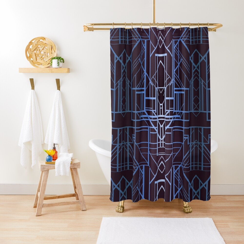 Geometric Deco in Blue Shower Curtain