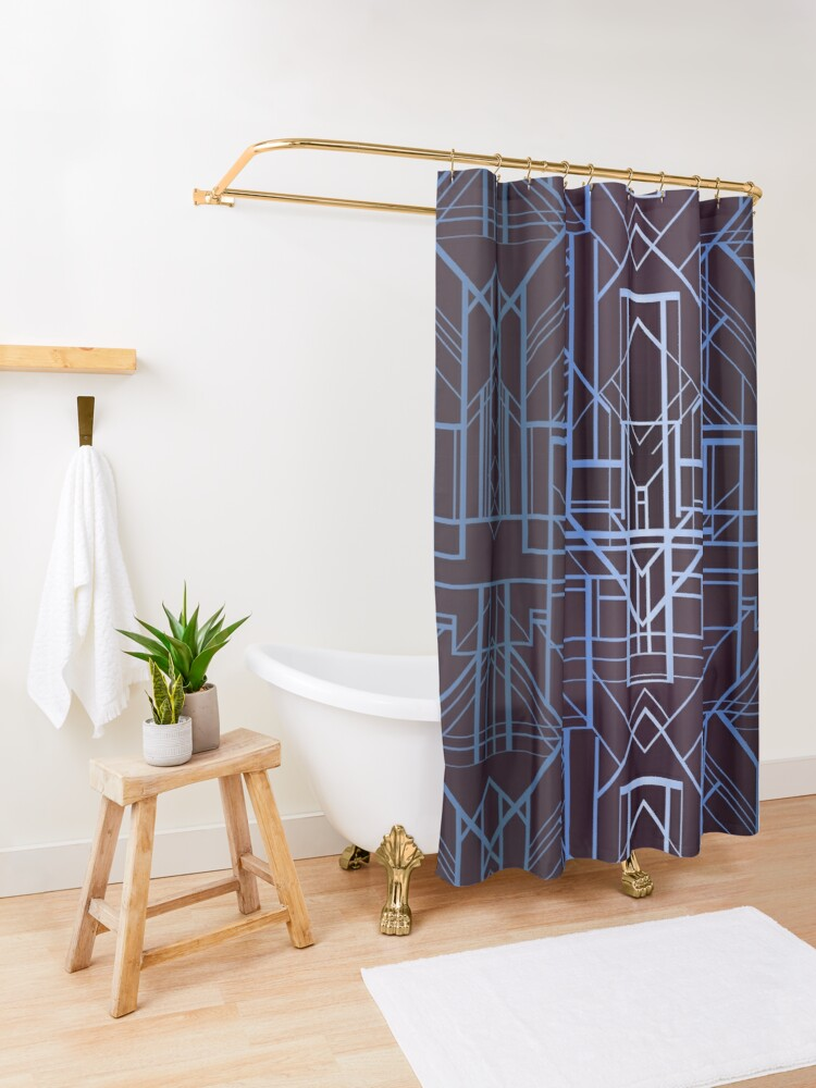 Alternate view of Geometric Deco in Blue Shower Curtain