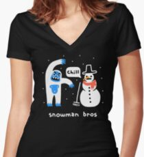 Snowman Bros Women's Fitted V-Neck T-Shirt