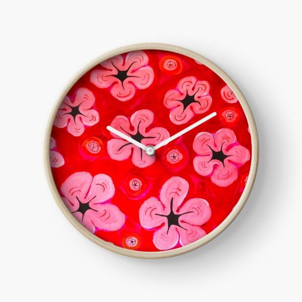 Pink Hibiscus Clock