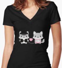Kinky wolves! Women's Fitted V-Neck T-Shirt