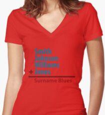 Surname Blues - Smith, Johnson, Williams & Jones Women's Fitted V-Neck T-Shirt