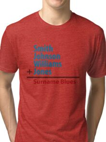 Surname Blues - Smith, Johnson, Williams & Jones Tri-blend T-Shirt