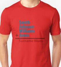 Surname Blues - Smith, Johnson, Williams & Jones Unisex T-Shirt