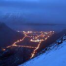 View from Sarkofagen - Misty Longyearbyen by Algot Kristoffer Peterson