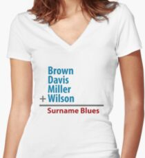 Surname Blues - Brown, Davis, Miller & Wilson Women's Fitted V-Neck T-Shirt