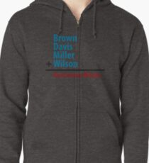 Surname Blues - Brown, Davis, Miller & Wilson Zipped Hoodie