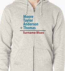 Surname Blues - Moore, Taylor, Anderson, Thomas Zipped Hoodie