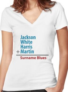 Surname Blues - Jackson, White, Harris, Martin Women's Fitted V-Neck T-Shirt