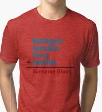 Surname Blues - Rodriguez, Gonzalez, Perez, Sanchez Tri-blend T-Shirt