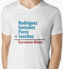 Surname Blues - Rodriguez, Gonzalez, Perez, Sanchez Mens V-Neck T-Shirt