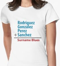 Surname Blues - Rodriguez, Gonzalez, Perez, Sanchez Womens Fitted T-Shirt