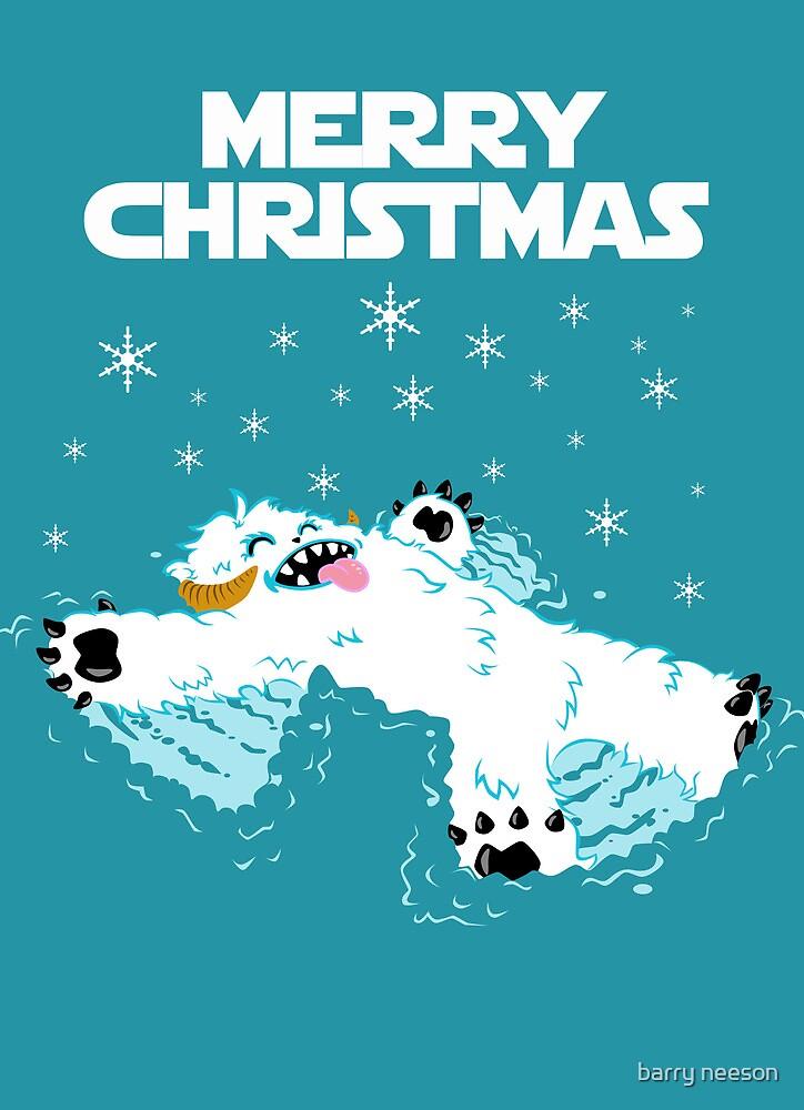 Wampa snow angel christmas card by barry neeson