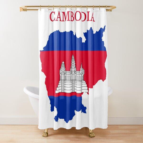 Cambodia Map Flag Shower Curtain