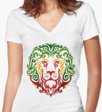 RastaLion Women's Fitted V-Neck T-Shirt