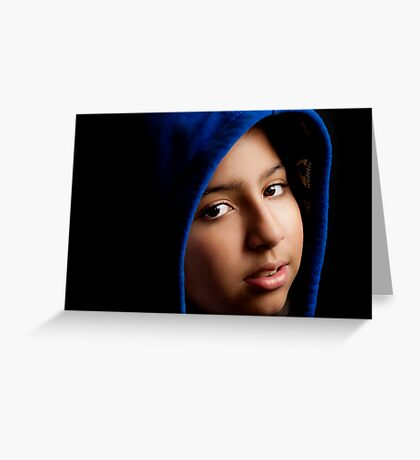 GIRL WITH THE BLUE HOODIE. Greeting Card
