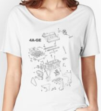 4A-GE Engine Diagram (Bright Colors) Women's Relaxed Fit T-Shirt