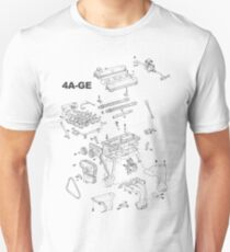 4A-GE Engine Diagram (Bright Colors) T-Shirt
