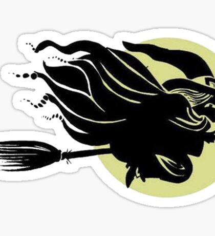 Flying Witch On Broomstick With A Big Moon Sticker