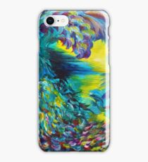 FLIGHT ON TAP - Whimsical Colorful Feathers Fountain Peacock Abstract Acrylic Painting Purple Teal iPhone Case/Skin