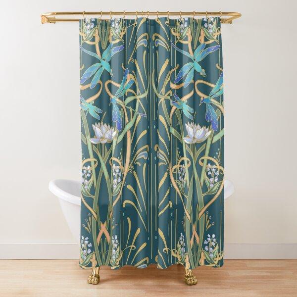 Art Nouveau Dragonflies Pattern   Deep Cool Green Shower Curtain