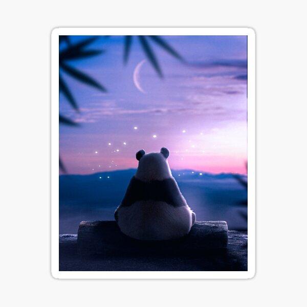 Lonely Panda at night Sticker