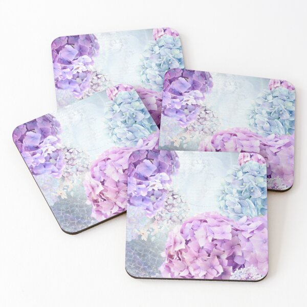 Blue and Purple Pastel Flower Hydrangea Spring Collage Pattern Coasters (Set of 4)