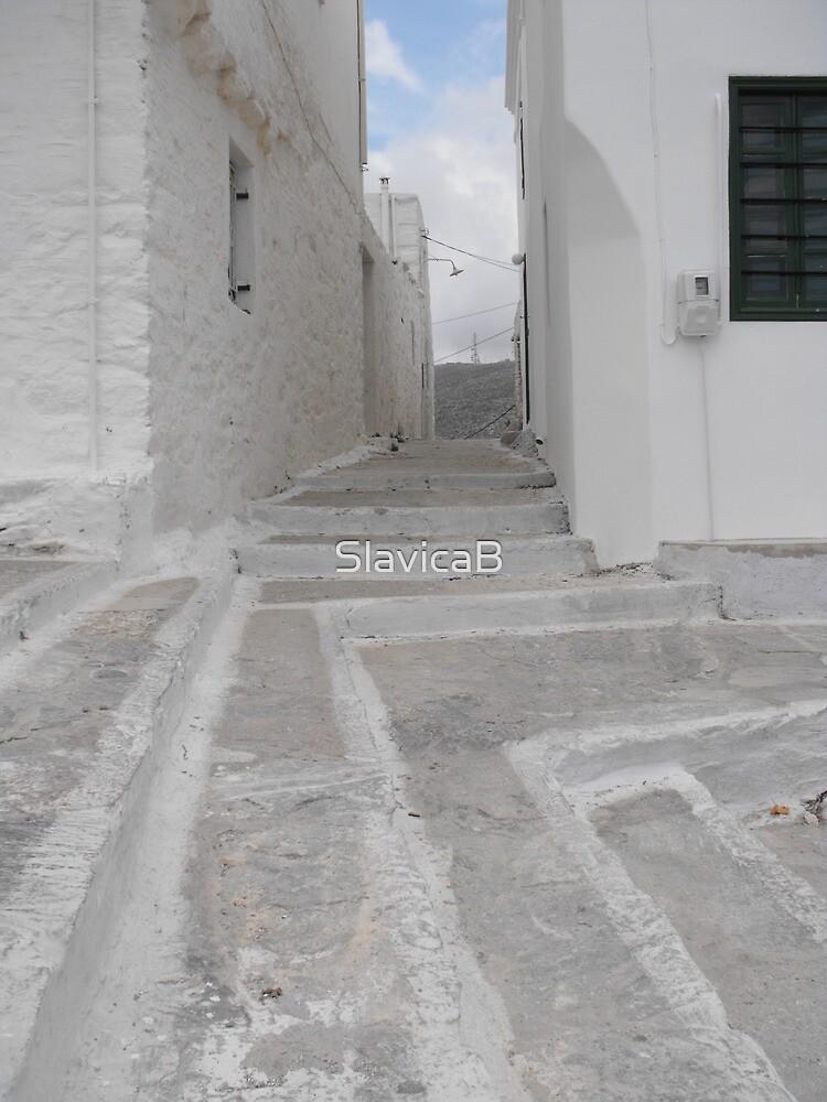 Greek Island empty alley by SlavicaB