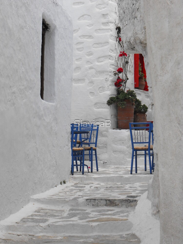 Greek Island empty street by SlavicaB