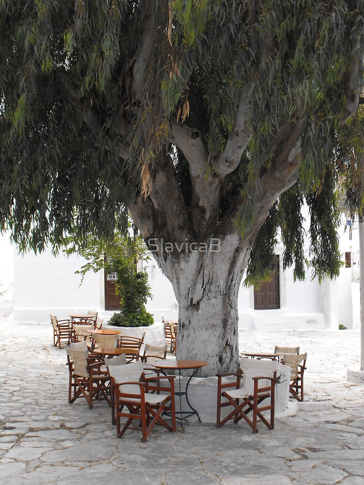Greek Island terrace and willow tree by SlavicaB