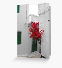 Greek Island street and flowers Greeting Card