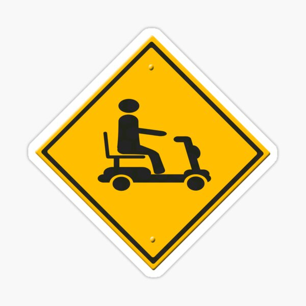 Warning sign mobility scooter Sticker