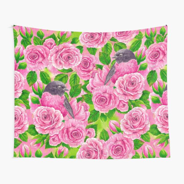 Pink Robin and roses Tapestry