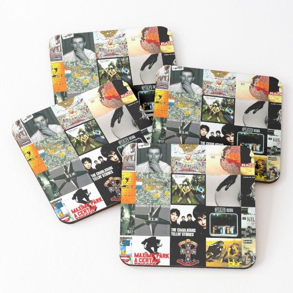 90s 00s Indie Britpop Albums Homage Collage Coasters (Set of 4)