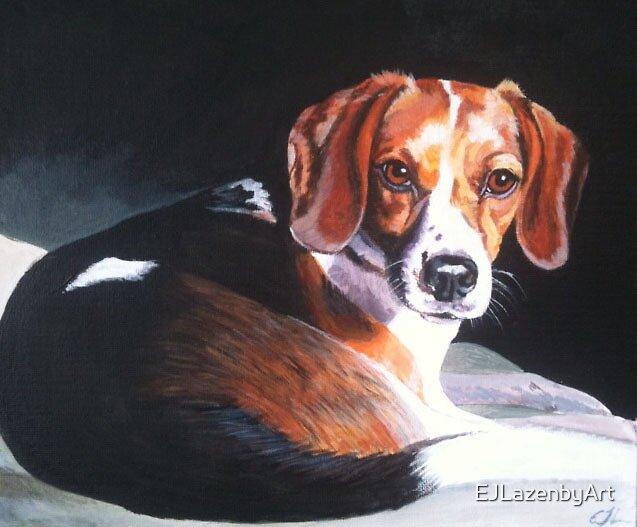 Golden Eyes - Young Beagle by EJLazenbyArt