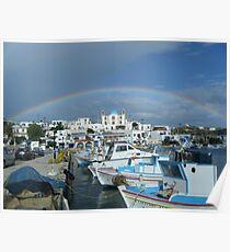 Full rainbow over church in Greek Island Poster