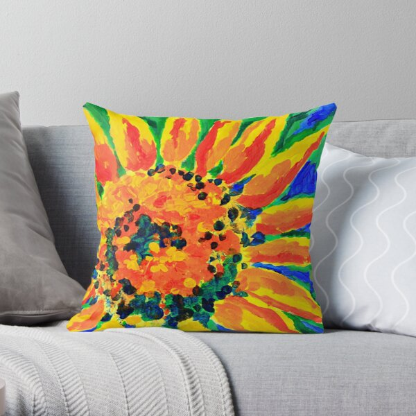 Bright and Cheerful Single Sunflower Acrylic Painting Throw Pillow