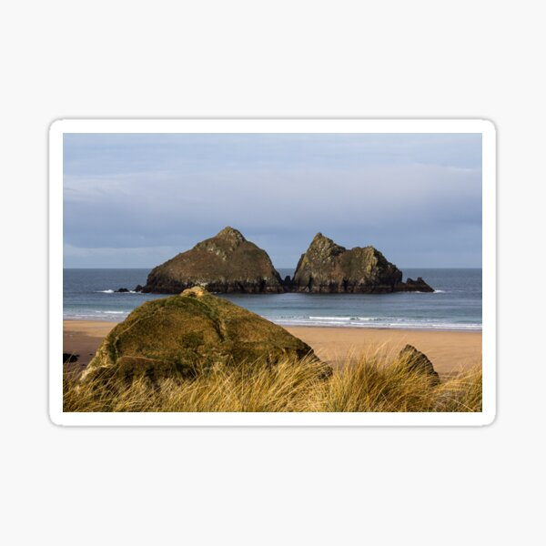 A photograph  of Holywell Bay Beach Cornwall Sticker