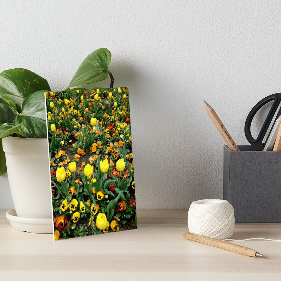 Ask me about my plants. Childhood flower garden, mixture of all colors, nature, relaxation Art Board Print