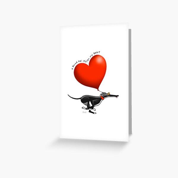 Stolen Heart - black hound Greeting Card