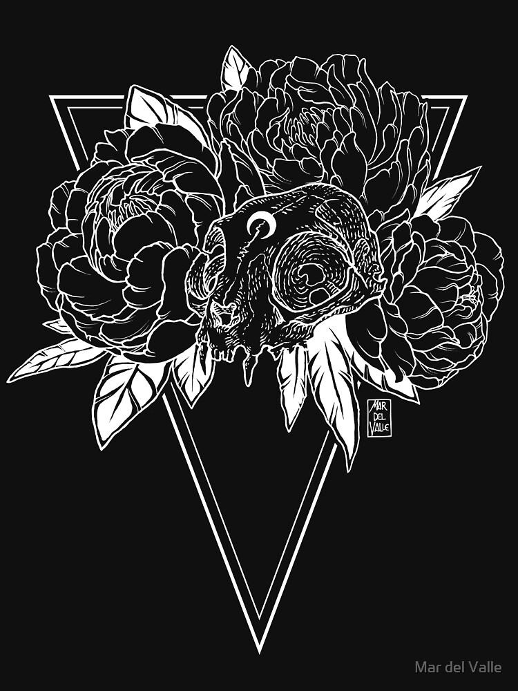 Cat Skull with Peonies - White Line by mardelvallearts